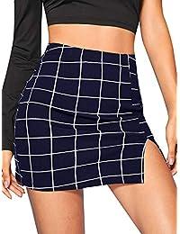 Floerns Mini Falda a Cuadros para Mujer