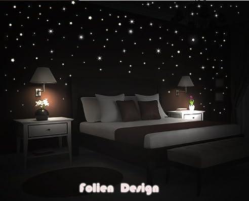 Wandtattoo Kinderzimmer schlafzimmer leuchtender Sternenhimmel ...