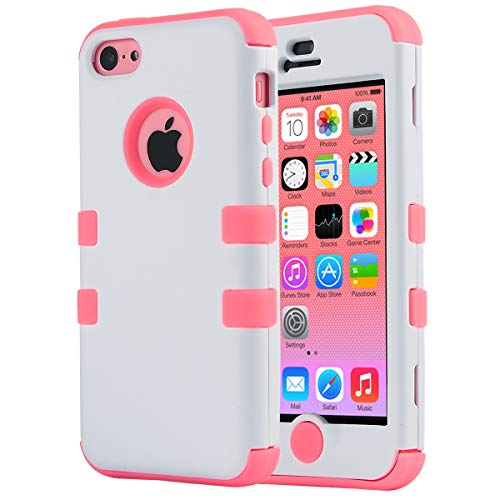 ULAK iPhone 5C Case, iPhone 5C Case, Shockproof Soft Silicone Rubber Hard Plastic Hybrid Heavy Duty Protection Kidproof High Impact Case Cover for Apple iPhone 5C (Coral Pink)