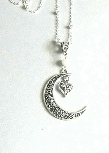 [Crescent Moon & Heart Pearl, Sterling Silver Chain Necklace] (1920s Womens Fashion Costumes)