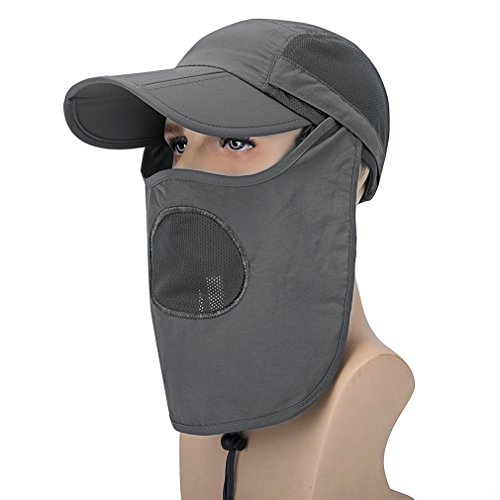 OTI388 Hat UPF mosquito Hunting 360 Anti Hat GADIEMKENSD Legion Mask Outdoor Hat UV 50 Adjustable Fishing Sun Folding Hat Protection Grey Deep CES Removable WAWFnq1