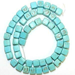 (NG2882 Blue-Green Turquoise 8mm Square Cube Magnesite Gemstone Beads 15
