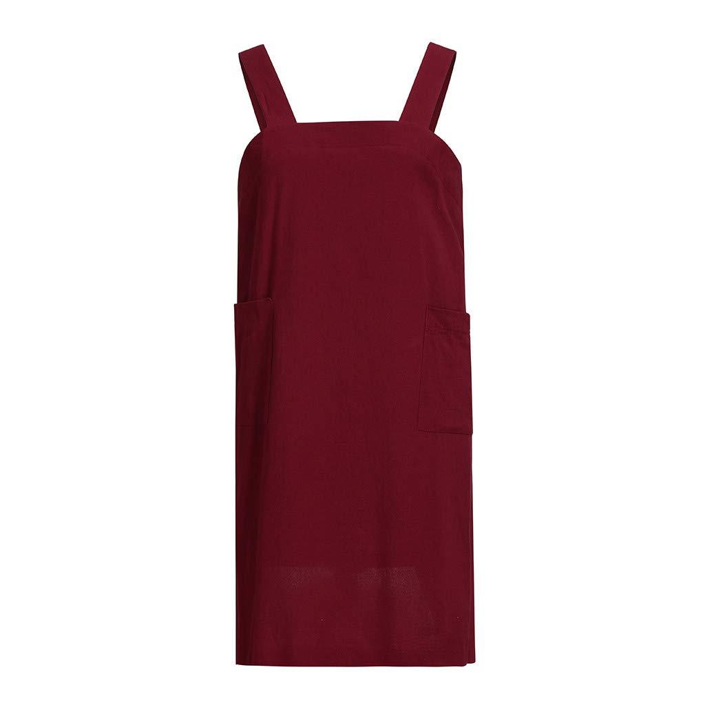HULKAY Womens Upgrade Elegant Cotton Linen Pinafore Home Dresses Ladies Square Garden Apron Dress