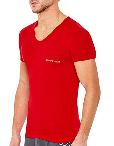 Emporio Armani Eagle Stretch Cotton V-Neck T-Shirt, S, Red