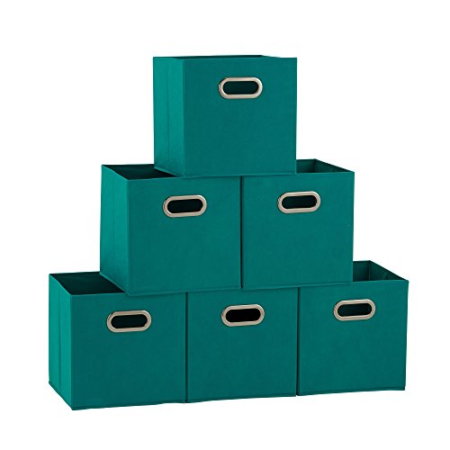 (Household Essentials 83-1 Foldable Fabric Storage Bins | Set of 6 Cubby Cubes with Handles | Aqua, 6)