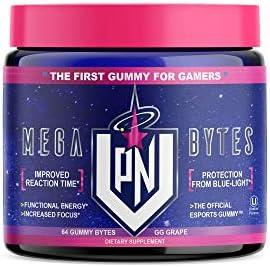 VPN Nootropic Gummies – Mega Bytes – Energy, Brain Gamer Supplement NO Caffeine – Alpha GPC, Ginseng, Ginkgo, Lutein – Focus Enhance, Reaction Time, Vision Support, Energy, Grape Flavor, 64ct