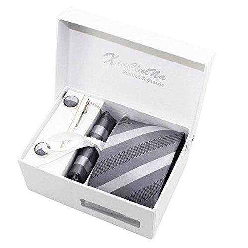 Leiwo Men's Handmade Polyester Silk Necktie with Cufflinks Pocket Square and Tie Clip 3'' (8cm) Grey