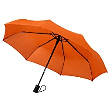 Crown Coast Windproof Umbrella Up To 95 kmph - Compact, Automatic Open / Close Travel Umbrellas All Come With A Lifetime Replacement Guarantee (Amber Orange)
