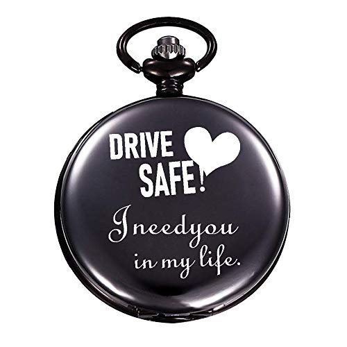 """Yoming Engraved """"Drive Safe,I Need You in My Life"""" Pocket Watch Gifts for Dad