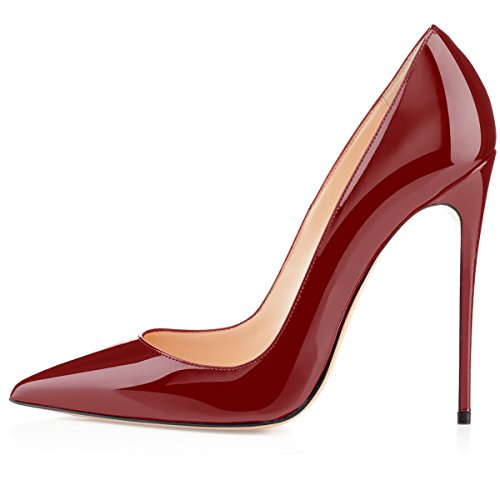 Stilettos Toe High Pumps Dress Patent Party 4 Wine 12cm Heel Pointed Womens Classic Wedding Eldof Pumps 72in vpx5zAHqw