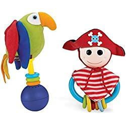 Baby Rattle And Teether Set - Pirate and Parrot Musical Rattle Set (Batteries Included)