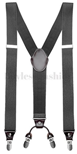 Buyless Fashion Mens 48' Elastic Adjustable 1 1/2' Suspenders In Y Shape - Gray