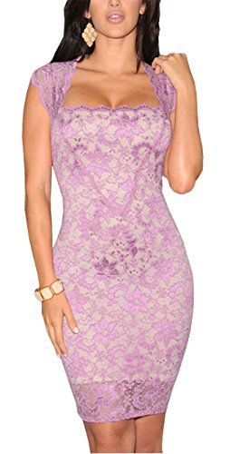 Romanse Women's Sexy Floral Print Lace Bodycon Club Party Dance Dress Violet
