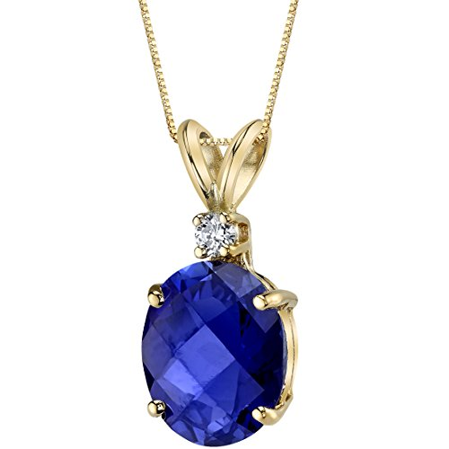 (14 Karat Yellow Gold Oval Shape 3.50 Carats Created Blue Sapphire Diamond Pendant)