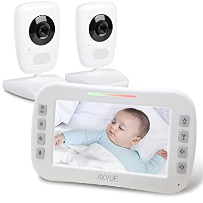 "AXVUE E632 Video Baby Monitor with Two Cameras and 5"" LCD, Night Vision, Temperature Detection, 2-Way Talk, VOX, Sound Lights, Power Saving On/Off, Expandable Cam by AXVUE"