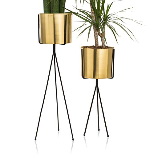 Set of 2 Modern Brass Gold Planter with Metal Plant Stand, 7 Inch Large Flower Pot with Black Mid Century Stands, Farmhouse Decor for Orchid, Aloe, Big Cactus, 18 and 24 Inch Tall, Indoor Decoration (Black Stand Vase)