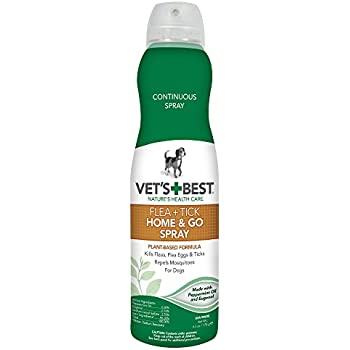Vet's Best Natural Flea and Tick Home & Go Spray, 6.3 oz, USA Made