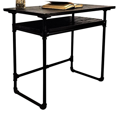 Furniture Pipeline Industrial Writing Desk with Lower Shelf, Metal with Reclaimed Aged Wood Finish, Black Steel Pipes and Fittings with Dark Brown Stained Wood ()