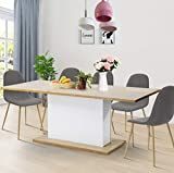 HOMY CASA Dining Table Extensible Flexible Seating Wooden Oak Desk 160-205cm for 6 to 8 Persons for Dining Room, Farmhouse, Kitchen, Restaurant Even Any Small Space Wood Honey-Comb Board