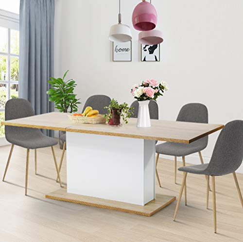 HOMY CASA Dining Table Extensible Flexible Seating Wooden Oak Desk 160-205cm for 6 to 8 Persons for Dining Room, Farmhouse, Kitchen, Restaurant Even Any Small Space Wood Honey-Comb Board (With Table Farm Extension)