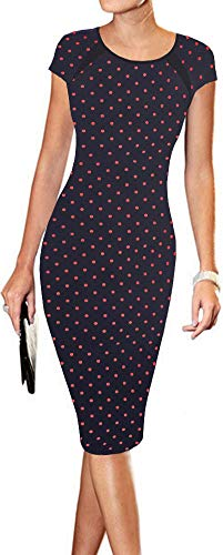LunaJany Women's Polka Dot Print Sexy Wear to Work Office Career Sheath Midi Dress S Navy Polka dot