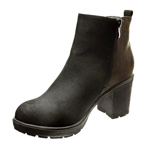 Angkorly - Chaussure Mode Bottine chelsea boots plateforme montante femme peau de serpent léopard Talon haut bloc 6.5 CM - Noir