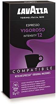 Cápsulas de Café Espresso Vigoroso Lavazza, Compatíveis com Nespresso, Contém 10 Cápsulas