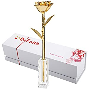 DEFAITH Real Rose 24K Gold Dipped, Forever Gifts for Her Valentines Day Anniversary Wedding and Proposal - King Gold with K9 Crystal Stand 6