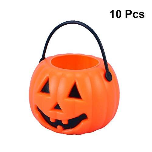 10pcs Halloween Portable Pumpkin Bucket Children Trick Or Treat Pumpkin Candy Pail Holder -