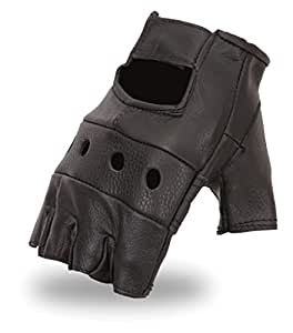First Manufacturing Mens Motorman Leather Finger-Less Motorcycle Gloves (Black,Medium),1 Pack