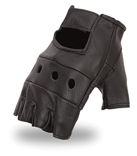 First Manufacturing Mens Motorman Leather Finger-Less Motorcycle Gloves (Black,X-Large),1 Pack]()