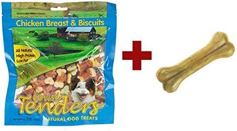 Lovin' Tenders Chicken Breast & Biscuits Dog Treats 7 oz with 4 inch Cadet Pressed Rawhide Bone [並行輸入品]