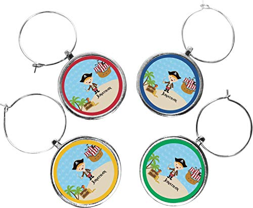 (Pirate Scene Wine Charms (Set of 4) (Personalized))