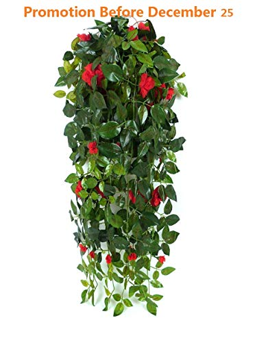 Baskets Flower Outdoor (JZHY Hanging Artificial Plants with Hanging Basket Silk Flower Rose Garland Vine for Wedding Home Outdoor Decoration and Wall Décor(Red))