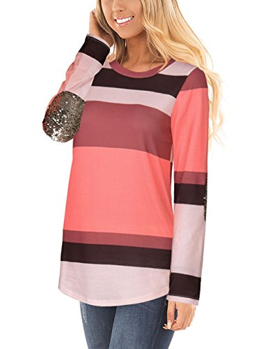 Womens Color Block Stripes Patchwork Long Sleeve Tunic T-Shirts Blouses Tops Pink Large