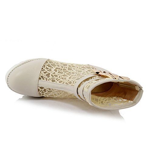 Buckle Imitated Wheeled Shoes Heel Girls Beige Boots BalaMasa Leather Ornamented 4xqPnOq5