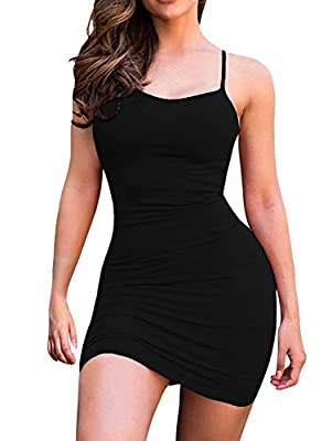 LCNBA Sexy Spaghetti Strap Tank Dress Basic Backless Bodycon Club Party Mini Dress