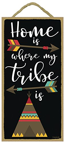 [Home is Where my Tribe is - 5 x 10 inch Hanging, Wall Art, Decorative Wood Sign Home Decor] (10