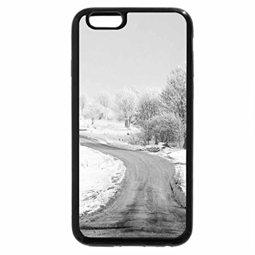 iPhone 6S Plus Case, iPhone 6 Plus Case (Black & White) - Winter Dirt Road