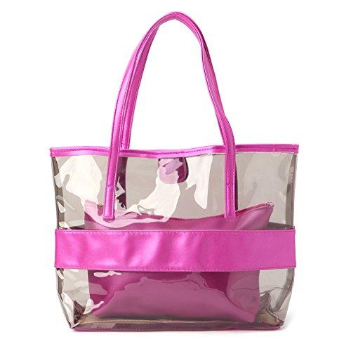 96x4 Transparente Mujer 33x12 38x11x32cm Hot 6 Dabixx Bolso Rosa Dorado 14 Mano Pink de para Color SWPaAqP