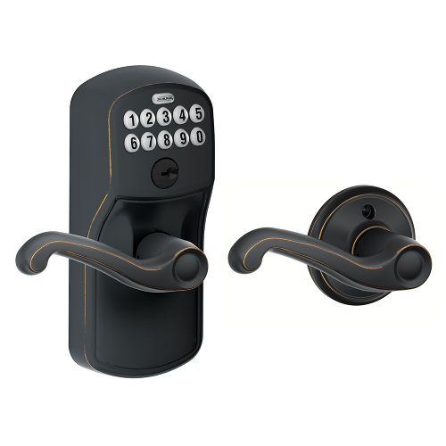 Schlage FE575 PLY 716 FLA Plymouth Keypad Entry with Auto-Lock and Flair Levers, Aged Bronze
