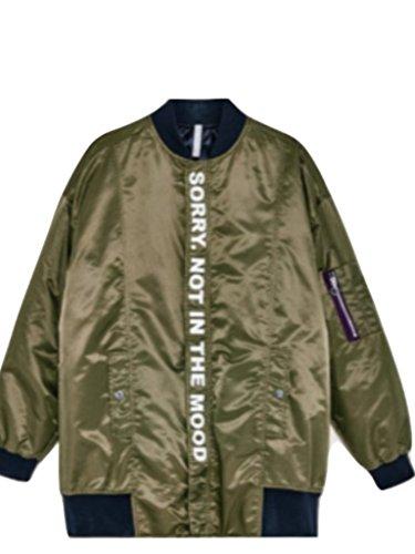 Zara Slogan Long Bomber Jacket BNWT Green L