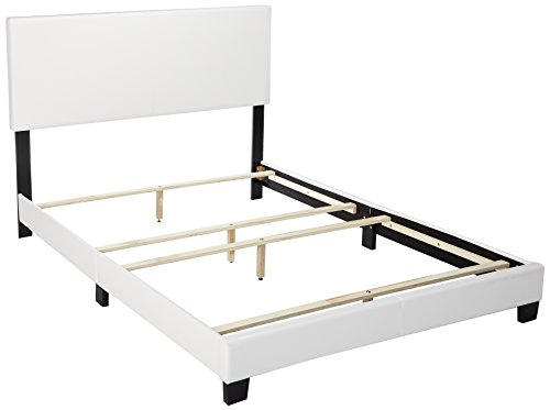 Comfy Modern Platform Bed - ACME Lien White Faux Leather Queen Bed