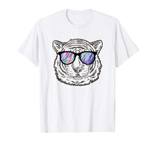 - Neon Tiger Animal T-Shirt Party Sunglasses Rave 80s Tee