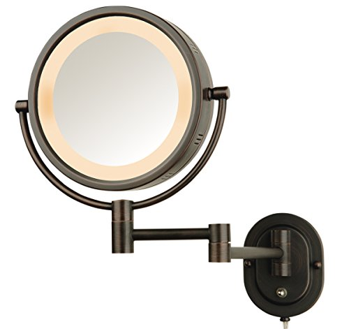 """SeeAll 8"""" Oil Rubbed Bronze Finish Dual Sided Surround Light Wall Mount Makeup Mirror"""