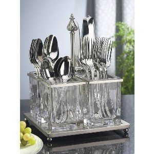 Amazon Com Nickel Plated And Glass Flatware Caddy Home