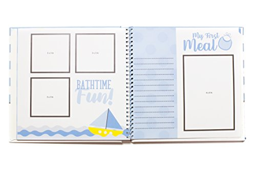 First Year Baby Memory Book & Baby Journal (3 Color Styles Available). Perfect for Boys or Girls Baby Shower Gift. First 5 Years Scrapbook, Keepsake & Photo Journal. Unisex, Blue by LovelySprouts (Image #6)