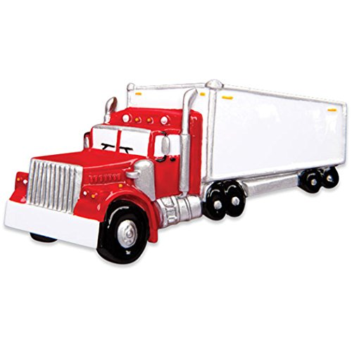 Personalized Semi Truck Christmas Tree Ornament 2019 - Red Mighty Toy Machine Trailer Freight Tractor 3rd Grader Boy Toddler Mack Hauler Gift Year - Free Customization Childs Third Christmas Ornament