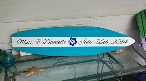 (4 foot wood surfboard wall art for wedding guest sign in autograph)