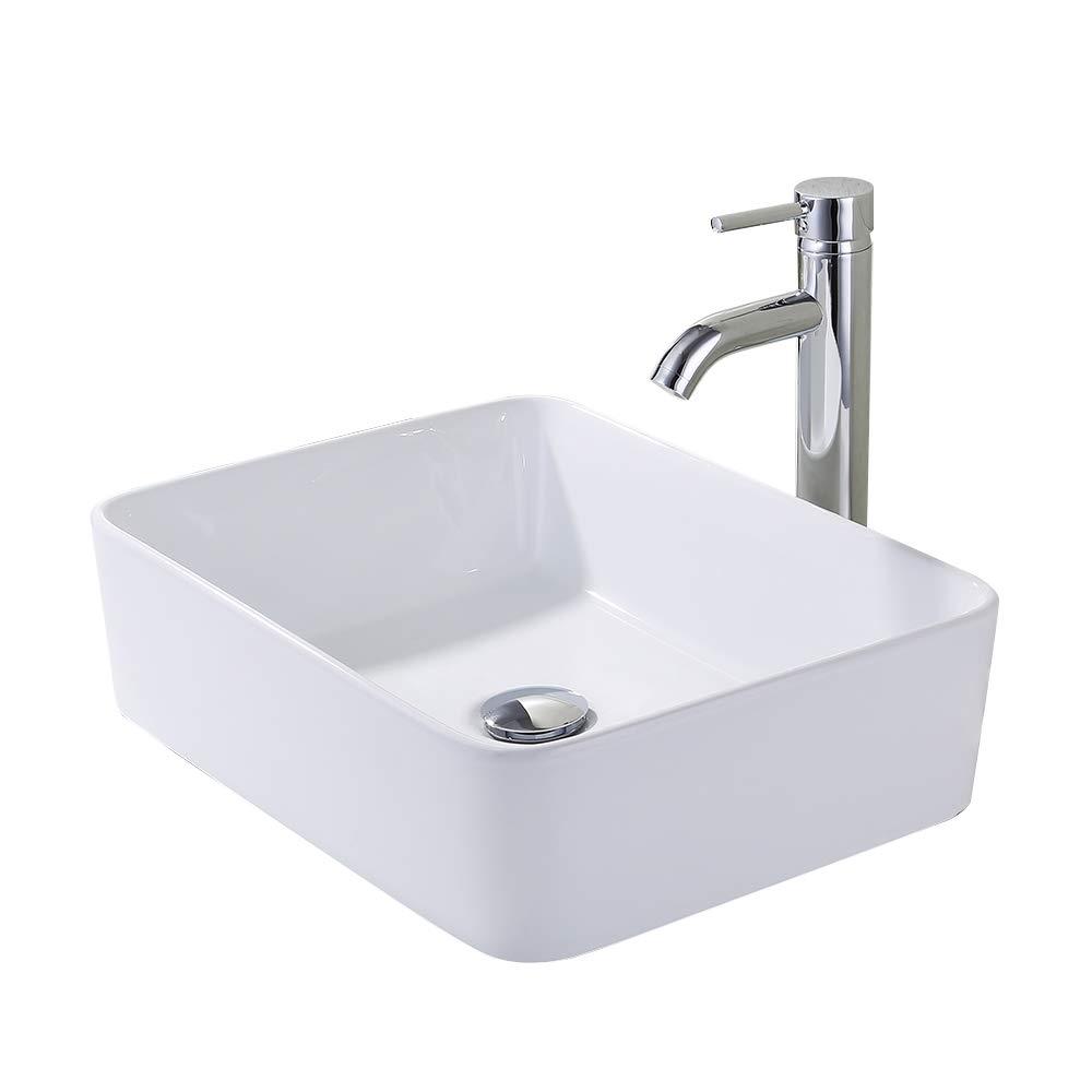 KES Bathroom Vessel Sink and Faucet Combo Bathroom Rectangular White Ceramic Porcelain Counter Top Vanity Bowl Sink Chrome Faucet, BVS110-C1